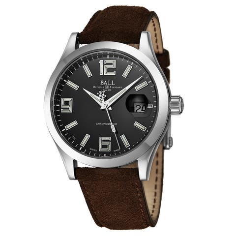 Ball Men's NM2026C-L4CAJBK 'Engineer II' Black Dial Brown Leather Strap Date Swiss Automatic Watch