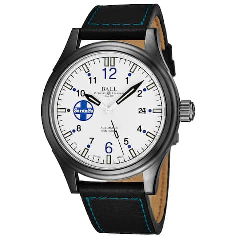 Ball Men's NM1092C-L3J-SLBE 'Fireman' White Dial Black Leather Strap Santa Fe Limited Edition Swiss Automatic Watch