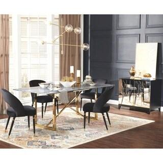 Modern Design Gold Frame Marble Top Dining Set and Server