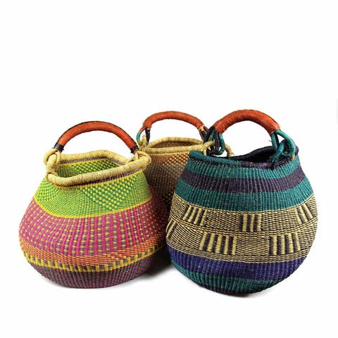 Handmade Pot Design Market Baskets, Color Variety