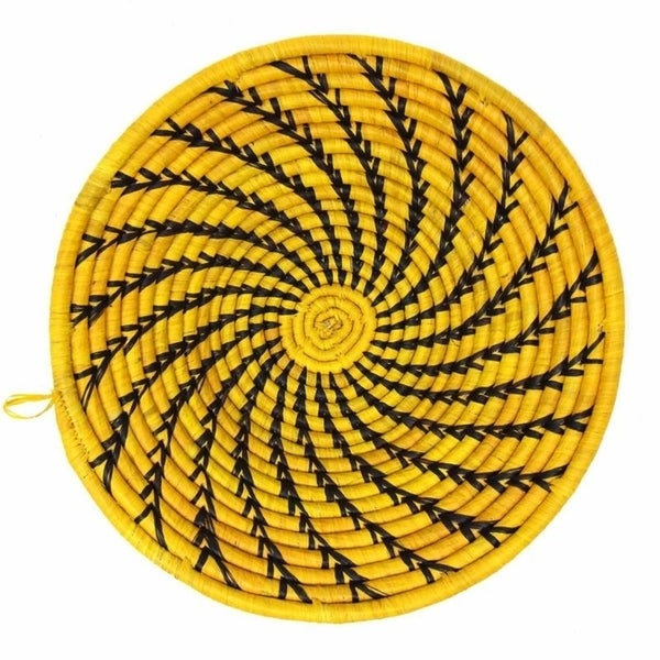 The Curated Nomad Sparrow Handmade Yellow Sisal Fruit Basket