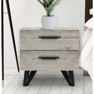 Abbyson Brianna Weathered Mid Century Wood 2 Drawer Nightstand