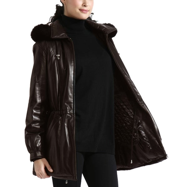 Women's Brown Lambskin Leather Anorak Parka Detachable Hood