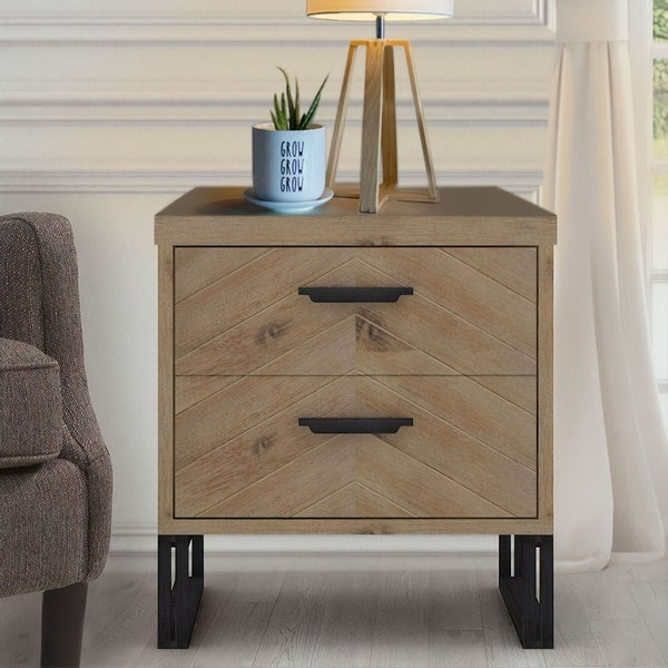 Abbyson Montana Wood 2 Drawer Nightstand