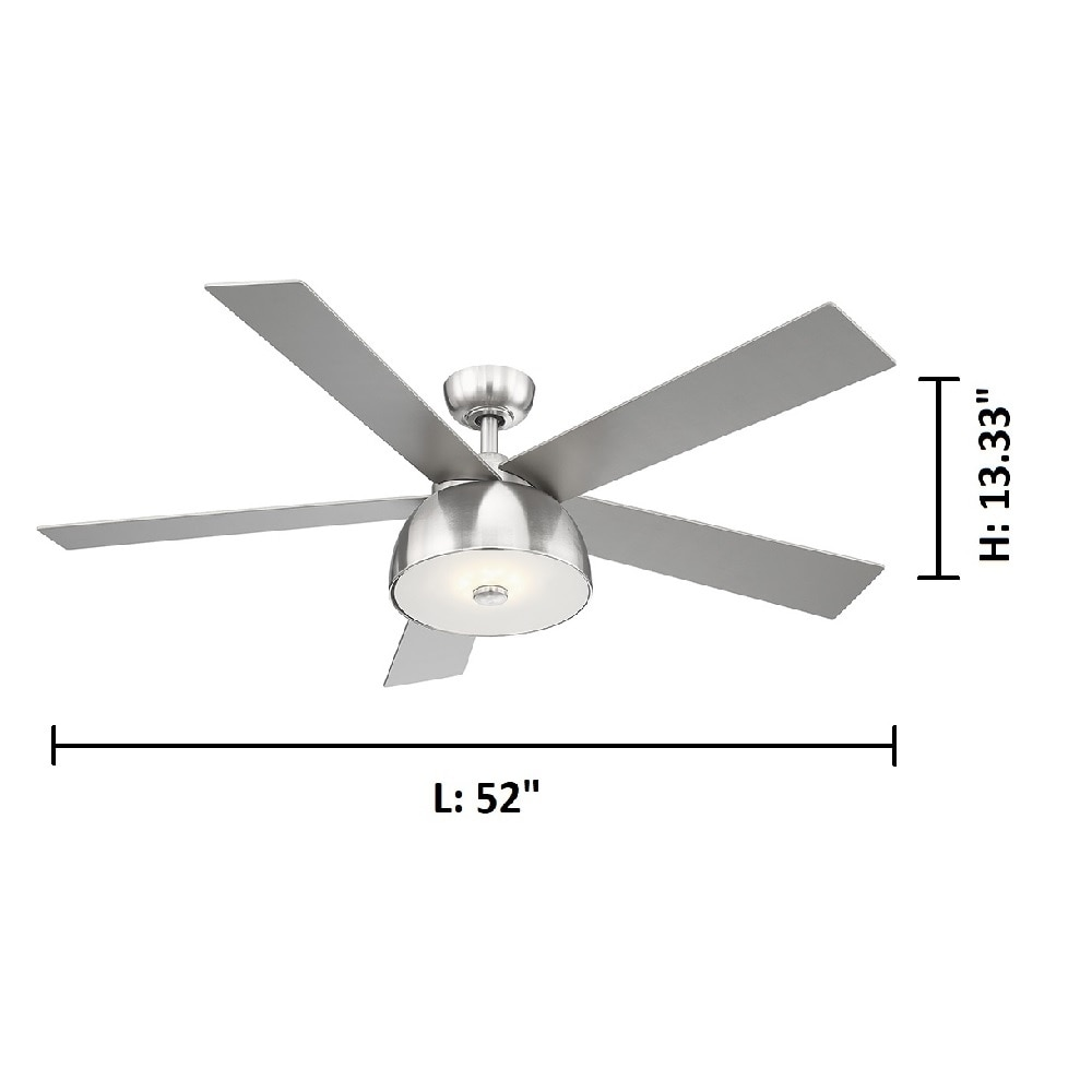 Ego Lestat 52 Inch 5 Blade Ceiling Fan W Brushed Nickel Finish Silver Colored Blades Integrated Led Light Kit Overstock 28234599