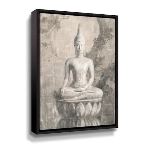 ArtWall Buddha Neutral Gallery Wrapped Floater-framed Canvas