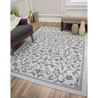 WandeSoft Touch Transitional Scroll Area Rug