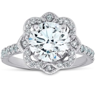 Link to 14k White Gold 1 3/4 Ct TDW Halo Vintage Diamond Engagement Ring Clarity Enhanced Similar Items in Wedding Rings