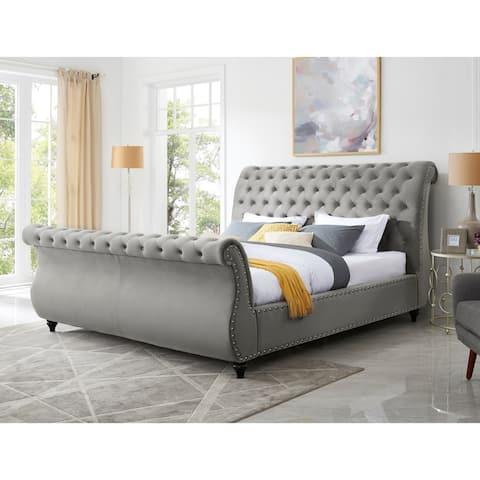 Evora Gray Velvet Upholstered Button Tufted Sleigh Bed