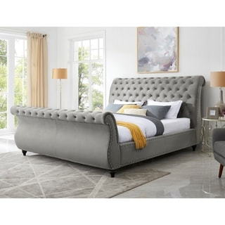 Link to Evora Gray Velvet Upholstered Button Tufted Sleigh Bed Similar Items in Bedroom Furniture