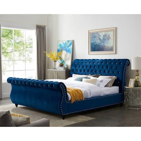 Evora Blue Velvet Upholstered Crystal Button Tufted Sleigh Bed