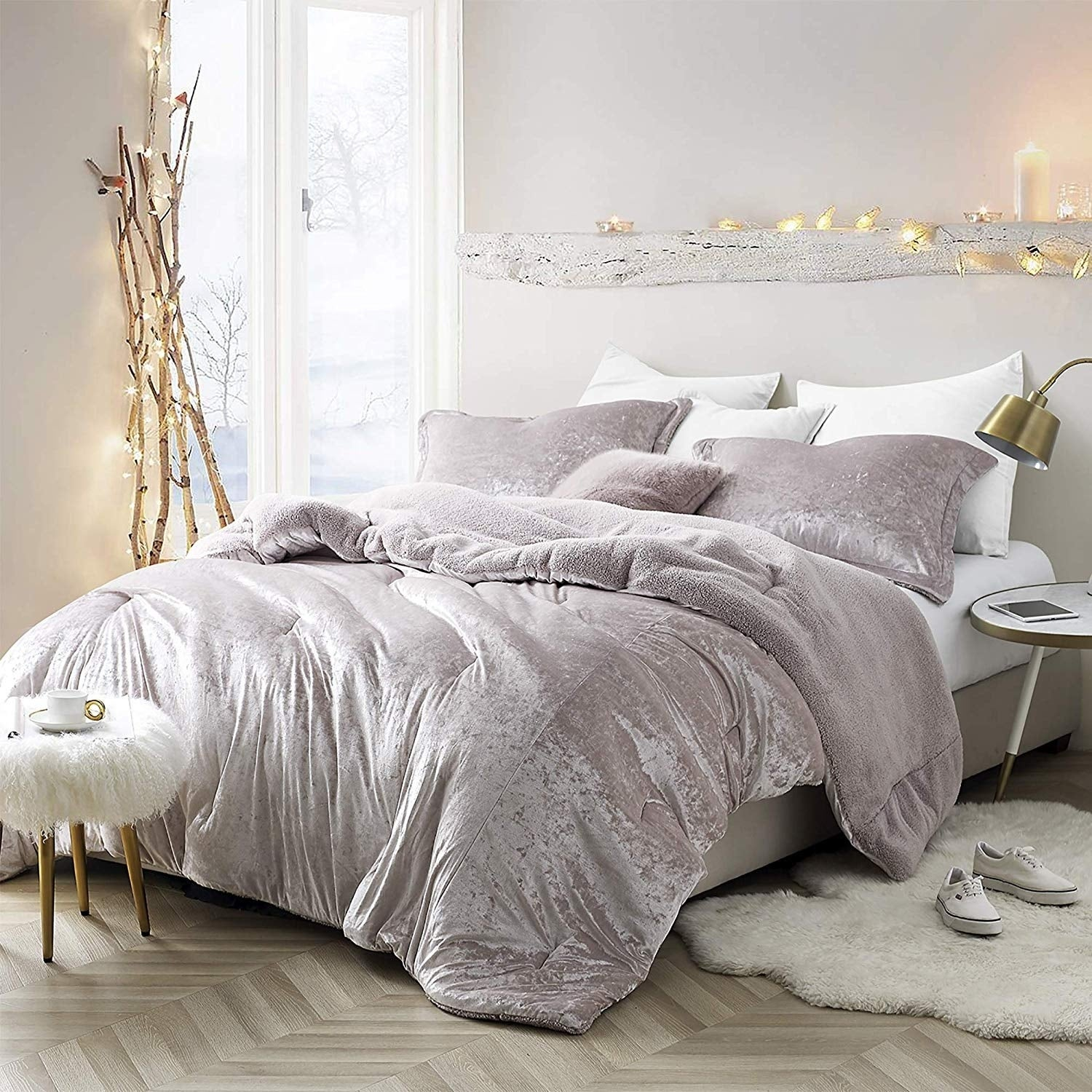 Silver Orchid Quirk Oversized Champagne Pink Comforter Overstock 26280395 King Sham King