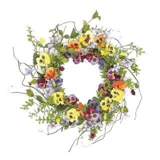 """22"""" Pansy and wildflower wreath"""