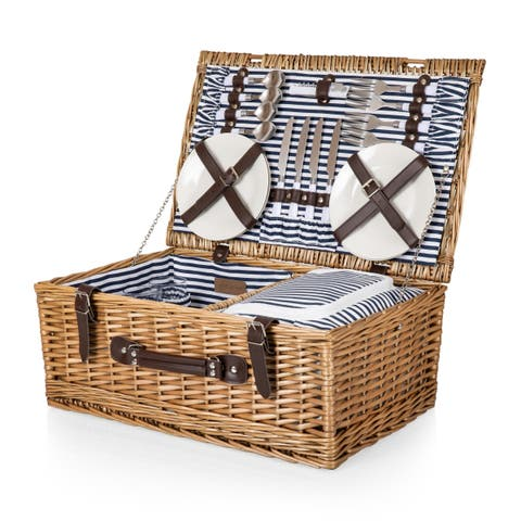 Belmont Picnic Basket (Navy and White Stripe)