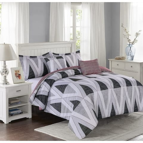 Lemon & Spice Maddox Geo Reversiable 5 Piece Comforter Set