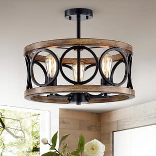 Shacer Matte Black/Imitation Wood Grain 3-light Chandelier