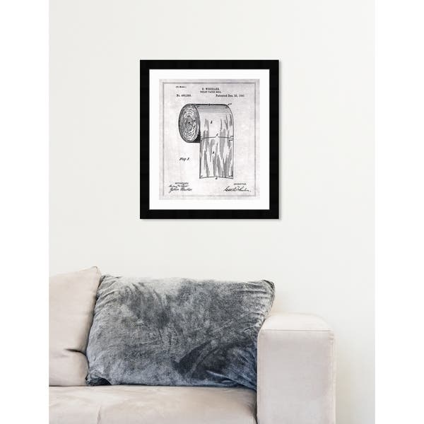 Oliver Gal Toilet Paper Roll 1891 Gray Bath And Laundry Framed Wall Art Blueprint Overstock 28234887