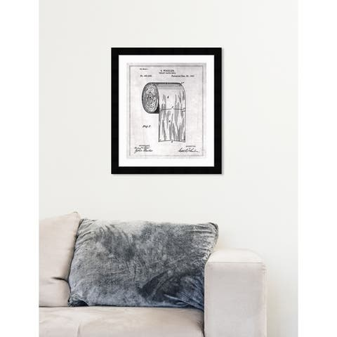 Oliver Gal 'Toilet-paper roll 1891' Gray Bath and Laundry Framed Wall Art Blueprint