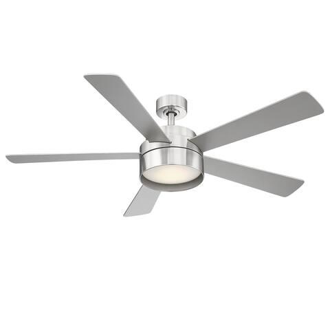 Eglo Whitehaven 52-inch 5 Blade Ceiling Fan w/ Brushed Nickel Finish & Integrated LED Light Kit - Brushed Nickel