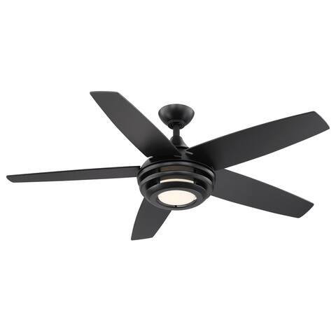 Eglo Petani 52-inch 5 Blade Ceiling Fan w/ Matte Black Finish & Integrated LED Light Kit - Matte Black