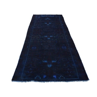 """Shahbanu Rugs Hand Knotted Vintage Overdyed Persian Hamadan Wide Runner Rug (3'8"""" x 9'8"""") - 3'8"""" x 9'8"""""""