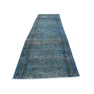 """Shahbanu Rugs Hand Knotted Vintage Overdyed Persian Hamadan Fragment Wide Runner Rug (3'6"""" x 11'4"""") - 3'6"""" x 11'4"""""""
