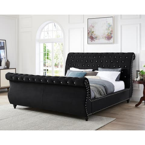 Gracewood Hollow Trivedi Black Velvet-upholstered Crystal Button-tufted Sleigh Bed