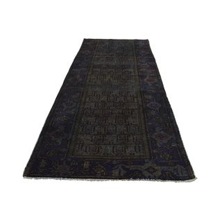"""Shahbanu Rugs Hand Knotted Overdyed Afghan Baluch Design Wide Runner Rug (3'4"""" x 9'2"""") - 3'4"""" x 9'2"""""""