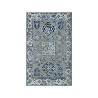 "Shahbanu Rugs Gray Vintage Look Kazak Pure Wool Hand-Knotted Oriental Rug (3'2"" x 5'0"") - 3'2"" x 5'0"""