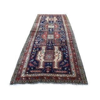"""Shahbanu Rugs Semi Antique Persian Northeast With Birds Pure Wool Wide Runner Rug (3'9"""" x 9'9"""") - 3'9"""" x 9'9"""""""