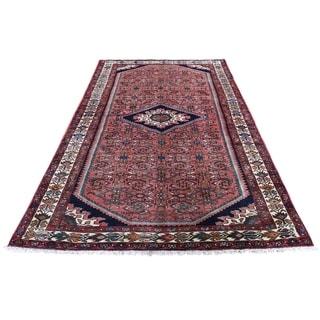 "Shahbanu Rugs Coral New Persian Hamadan Pure Wool Hand-Knotted Oriental Rug (4'7"" x 8'6"") - 4'7"" x 8'6"""