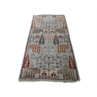 "Shahbanu Rugs Peshawar Willow And Cypress Tree Design Hand-Knotted Oriental Rug (2'8"" x 5'10"") - 2'8"" x 5'10"""