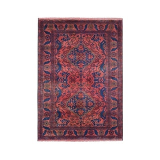 """Shahbanu Rugs Vintage Look Red Geometric Afghan Andkhoy Pure Wool Hand-Knotted rug (4'1"""" x 6'4"""") - 4'1"""" x 6'4"""""""