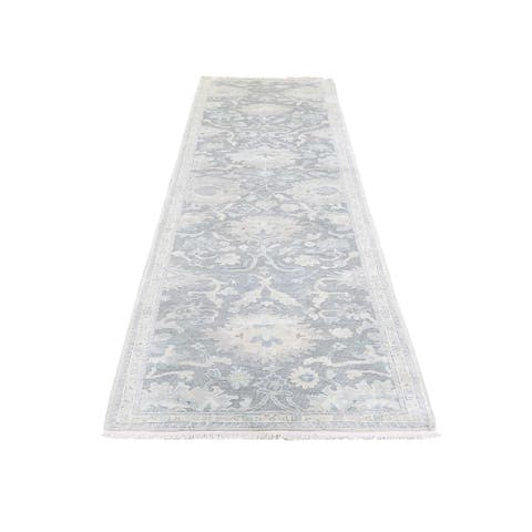 "Shahbanu Rugs Oushak Influence Silk with Oxidized Wool Textured Runner Rug (2'6"" x 10'2"") - 2'6"" x 10'2"""