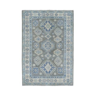 "Shahbanu Rugs Gray Vintage Look Kazak Geometric Design Pure Wool Hand-Knotted Rug (4'0"" x 5'9"") - 4'0"" x 5'9"""