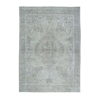 "Shahbanu Rugs Gray Vintage White Wash Tabriz Worn Wool Tribal Hand-Knotted Rug (9'5"" x 12'6"") - 9'5"" x 12'6"""
