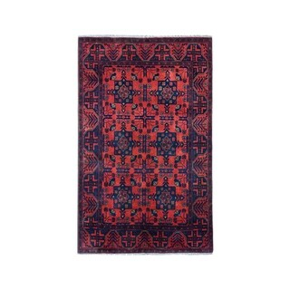 """Shahbanu Rugs Vintage Look Red Geometric Afghan Andkhoy Pure Wool Hand-Knotted Rug (3'4"""" x 5'0"""") - 3'4"""" x 5'0"""""""