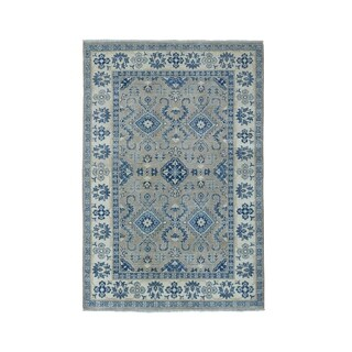 "Shahbanu Rugs Gray Vintage Look Kazak Pure Wool Hand-Knotted Oriental Rug (4'0"" x 5'10"") - 4'0"" x 5'10"""