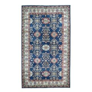 "Shahbanu Rugs Blue Super Kazak Pure Wool Geometric Design Hand-Knotted Oriental Rug (6'1"" x 9'8"") - 6'1"" x 9'8"""