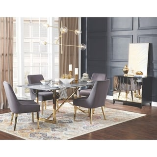 Modern Design Gold Frame Marble Top and Grey Velvet Chairs Dining Set with Server