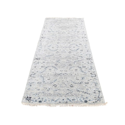 """Shahbanu Rugs Hand-Knotted Wool and Silk Transitional Kashan Design Runner Rug (2'6"""" x 8'0"""") - 2'6"""" x 8'0"""""""