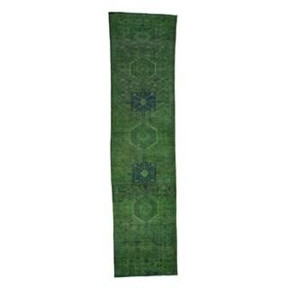 "Shahbanu Rugs Green Overdyed Persian karajeh Runner Pure Wool hand-Knotted Rug (3'1"" x 12'6"") - 3'1"" x 12'6"""