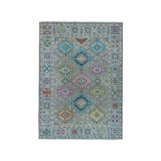 "Shahbanu Rugs Colorful Fusion Kazak Pure Wool Hand-Knotted Oriental Rug (5'0"" x 6'7"") - 5'0"" x 6'7"""