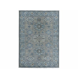 "Shahbanu Rugs Gray Vintage Look Kazak Pure Wool Hand-Knotted Oriental Rug (4'10"" x 6'5"") - 4'10"" x 6'5"""