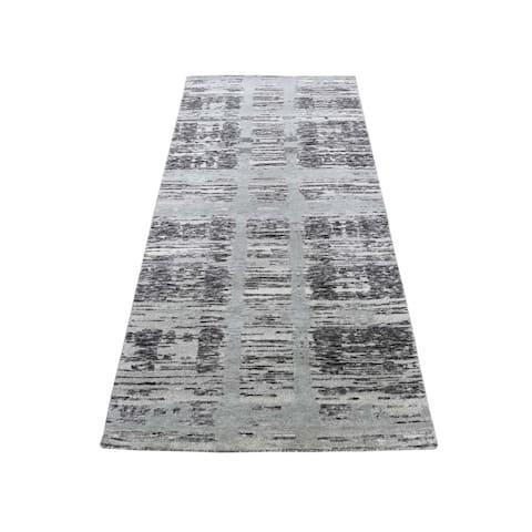 """Shahbanu Rugs Hand Spun Undyed Natural Wool Modern Runner Oriental Hand-Knotted Rug (2'7"""" x 6'0"""") - 2'7"""" x 6'0"""""""