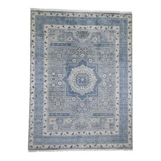 "Shahbanu Rugs Blue Pure Wool Mamluk Design Hand-Knotted Oriental Rug (9'2"" x 12'2"") - 9'2"" x 12'2"""