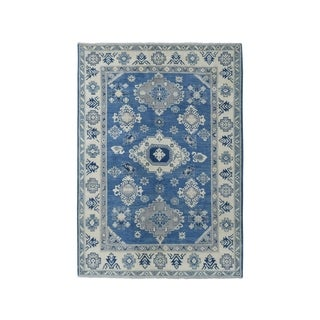 "Shahbanu Rugs Blue Vintage Look Kazak Pure Wool Geometric Design Hand-Knotted Rug (5'0"" x 6'3"") - 5'0"" x 6'3"""