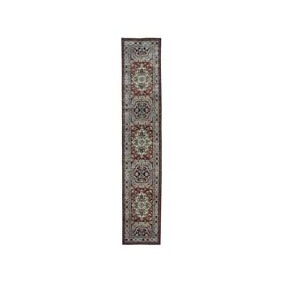 "Shahbanu Rugs Red Super Kazak Pure Wool Geometric Design Hand-Knotted Runner Rug (2'10"" x 12'7"") - 2'10"" x 12'7"""