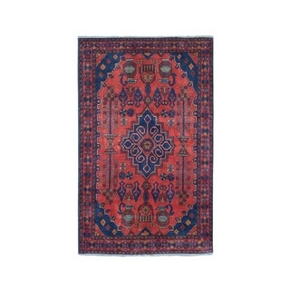 """Shahbanu Rugs Vintage Look Red Geometric Afghan Andkhoy Pure Wool Hand-Knotted Rug (3'4"""" x 4'9"""") - 3'4"""" x 4'9"""""""