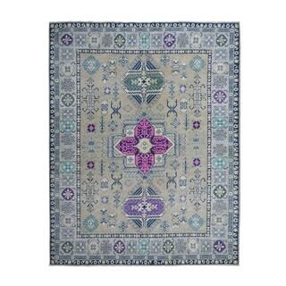 "Shahbanu Rugs Colorful  Fusion Kazak Pure Wool Hand-Knotted Oriental Rug (7'8"" x 10'3"") - 7'8"" x 10'3"""